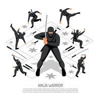 ilustração em vetor cartaz guerreiro ninja