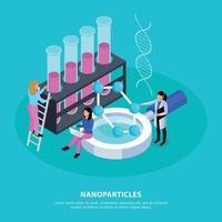ilustração vetorial de fundo isométrico de nanopartículas vetor