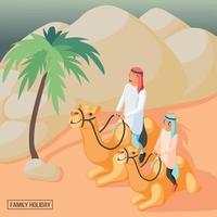 ilustração em vetor fundo família árabe