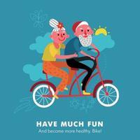 ilustração vetorial de desenho animado de bicicleta para idosos vetor