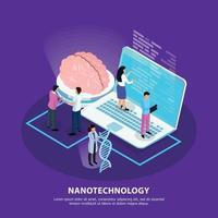 ilustração em vetor fundo gradiente isométrico de nanotecnologia