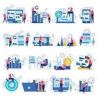 ilustração em vetor ícones planos de análise de negócios