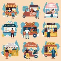 vendedores de rua compradores definir ilustração vetorial vetor