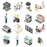 ícones isométricos de café de rua definir ilustração vetorial vetor