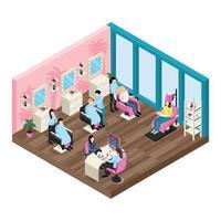 ilustração em vetor composição isométrica salão de beleza