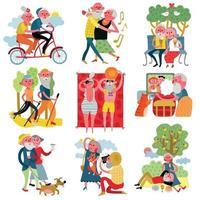 ilustração vetorial conjunto de desenhos animados para idosos vetor
