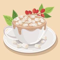 Espuma espiral de cappuccino com café quente com leite com marshmallows polvilhados por cima e chocolate em pó vetor