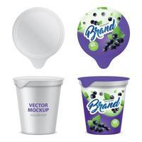 conjunto de ícones de pacote de iogurte realista ilustração vetorial vetor