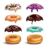 ilustração vetorial conjunto realista de biscoitos donuts glacês vetor