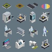 ilustração vetorial conjunto de ícones de produção de chips vetor