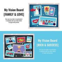 sonhos visão placa banners definir ilustração vetorial vetor