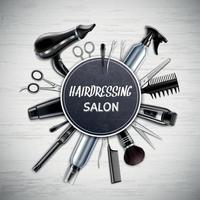 ilustração vetorial de composição realista de ferramentas de cabeleireiro vetor