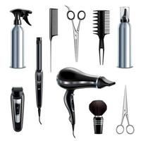 ilustração vetorial conjunto realista de ferramentas de cabeleireiro vetor