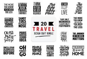 pacote de design de artesanato com citações de letras de viagens. vetor