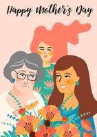 Feliz Dia das Mães. Ilustração vetorial com mulheres e flores.