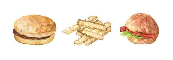 conjunto de hambúrguer e batatas fritas. ilustração em aquarela. vetor