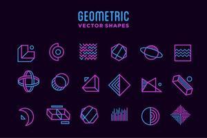 conjunto de coleção de ícones de forma geométrica abstrata neon roxa e rosa com elementos de design, modelo para seu projeto, anúncio, banner comercial, pôster e animação vetor