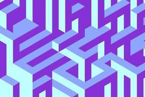 labirinto de vetores, renderização em 3d. Ilustração 3D isométrica do labirinto. fundo azul confuso do labirinto do vetor. vetor