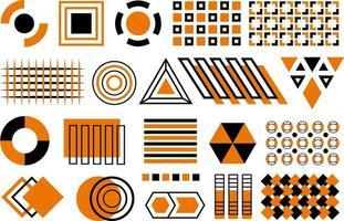 vetor memphis preto e laranja cpllection. conjunto de formas planas geométricas pretas e laranja, elementos de design de memphis