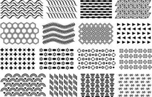 padrão de memphis. conjunto de padrão de mosaico de memphis preto vetor. elementos de design geométrico liso preto, padrões para cartazes, brochuras, folhetos, etc. vetor