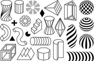 formas geométricas lineares. coleção de elementos pretos flatmemphis desihn e formas geométricas isoladas no fundo branco vetor