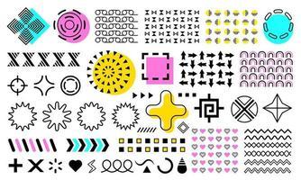 vetor memphis. conjunto de formas geométricas abstratas, formas ornamentais, ondas, padrões sem emenda, formas geométricas, elementos de design. conjunto colorido em azul, amarelo, roxo, isolado no fundo branco