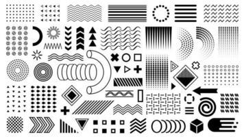 conjunto de memphis do vetor. formas geométricas, elementos de design. layout de formas planas em preto. ziguezagues, ondas, círculos, pontos. para sobreposição de design de capa, cartão de ocupação, folheto, banner, folheto vetor
