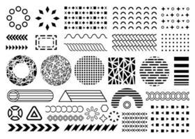 o vetor dá forma a elementos de design de memphis. coleção de elementos de memphis lisos pretos. coleção de formas de sobreposição. círculos de textura, padrões de setas isolados no fundo branco