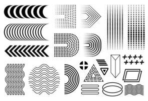 conjunto de memphis do vetor, coleção preta de memphis dos anos 90, elementos de design isolados, linha de meios círculos, gradiente linear, círculo de onda, ziguezagues, triângulos vetor