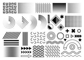 conjunto preto de elementos de design de memphis, coleção de elementos gráficos simples geométricos simples de vetor memphis para seus projetos de design. círculos isolados, ondas, pontos, gradientes em fundo branco.