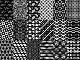 conjunto de padrão sem emenda preto e branco de vetor, coleção de padrão geométrico monocromático, para seus projetos de design como papel de parede, têxtil, tecido, embrulho, design de capa vetor