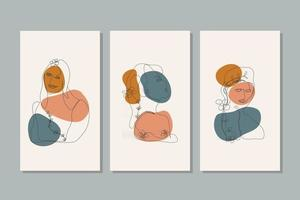 retrato de estilo minimalista de vetor. flor de linha, retrato de mulher. mão desenhada impressão feminina abstrata. usar para histórias da rede social, logotipos de beleza, ilustração de pôster, cartão, impressão de camiseta, papel de parede vetor