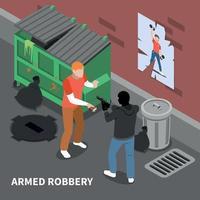 ilustração em vetor composição isométrica assalto à mão armada