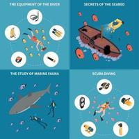 ilustração vetorial de conceito de design isométrico de mergulho vetor