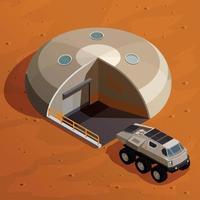 Ilustração em vetor conceito isométrico de colonização de Marte