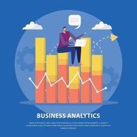 ilustração em vetor conceito plano de análise de negócios