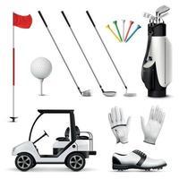 ilustração vetorial conjunto realista de golfe vetor