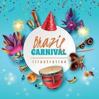 ilustração em vetor quadro carnaval brasil