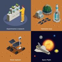 Ilustração em vetor conceito de design 2x2 colonização de Marte