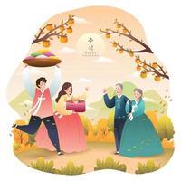 Chuseok feliz com o conceito de família visitante vetor