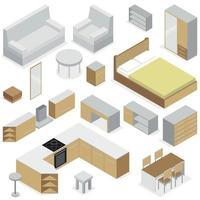 elementos de móveis para ilustração vetorial de interiores de casa vetor