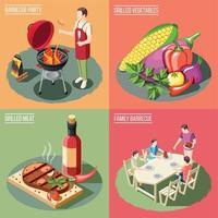 ilustração em vetor conceito design churrasqueira