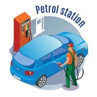 ilustração em vetor fundo círculo reabastecimento de carro