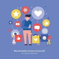 ilustração em vetor composição plana de mídia social