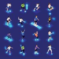 ilustração vetorial de ícones isométricos de esportes vr vetor