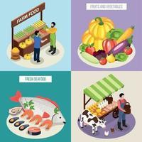 ilustração em vetor conceito design 2x2 mercado agricultor