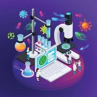 ilustração em vetor cartaz isométrico microbiologia
