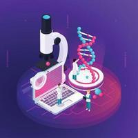 ilustração em vetor conceito isométrico de nanotecnologia