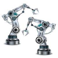 braço robótico definido ilustração vetorial vetor