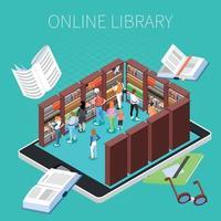ilustração em vetor leitura e composição de biblioteca